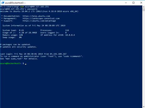 Linux server i Azure via SSH kommandoen i powershell