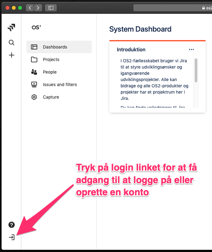 Jira Dashboard med pil til login